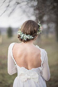 Ozdoby do vlasov - Svadobný zeleno-biely polvenček - 9385473_