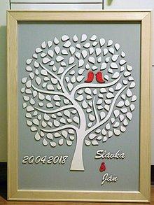 Dekorácie - svadobná kniha hostí/drevený strom 10 - 9383040_