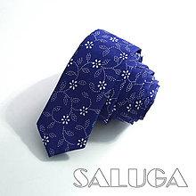 Doplnky - Pánska slim kravata - modrá - modrotlač - folk - 9384063_
