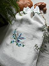 Úžitkový textil - Ľanové vrecko z ručne tkaného plátna - 9382203_
