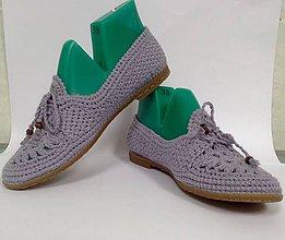 Obuv - ľanové pohodlné topánky - levandulové balerínky - 9383494_