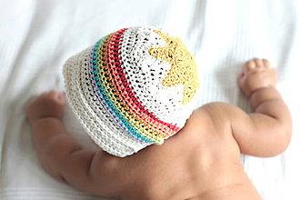 Detské čiapky - Čepček Sunshine- dúhovaný - 9384466_