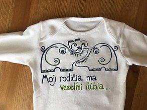 """Detské oblečenie - Maľované body s nápisom """"moji rodičia ma veľmi ľúbia """" (so sloníkmi-modrozelený variant) - 9382215_"""
