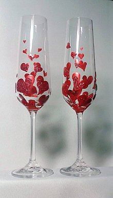 Darčeky pre svadobčanov - Svadobné poháre srdiečkové červené - 9381484_