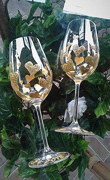 Iné doplnky - Svadobné poháre Heart Gold - 9382012_
