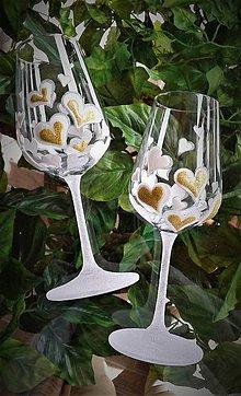 Drobnosti - Svadobné poháre Heart White - 9382874_