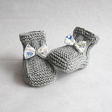 Topánočky - Papučky s mašličkou, 100% merino extra fine - 9384627_