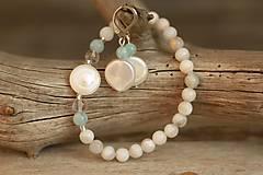 - Náramok z minerálu akvamarín, achát, krištáľ a riečna perla - 9381738_