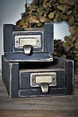 Nábytok - Stratené vintage zásuvky z kartotéky - sada - 9382370_