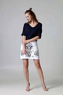 Sukne - Mini sukňa vyšívaná biela - 9388647_