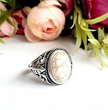 Prstene - Antique Silver Howlite Ring / Starostrieborný prsteň s howlitom /0311 - 9387058_