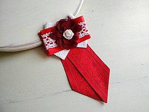 Odznaky/Brošne - Dámska kravata/brošňa pod golier...Folklórna červeno-biela - 9387144_