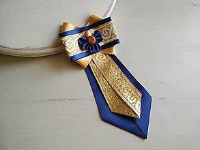 Odznaky/Brošne - Dámska kravata/brošňa pod golier...Folklórna Zlato-modrá - 9387394_