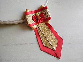 Odznaky/Brošne - Dámska kravata/brošňa pod golier...Folklórna Zlato-červená - 9387445_