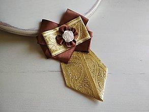 Odznaky/Brošne - Dámska kravata/brošňa pod golier...Zlato-hnedá - 9387572_