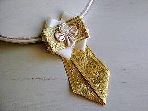 Odznaky/Brošne - Dámska kravata/brošňa pod golier Ivory&Gold - 9389011_