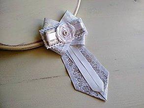 Odznaky/Brošne - Dámska kravata/brošňa pod golier Svadobná...White&Silver - 9389178_