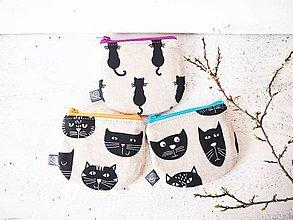 Peňaženky - Peňaženka režná - mačky s purpurovým zipsom  - 9386061_