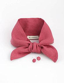 Šatky - Malinový set - elegantná ľanová šatka s náušnicami - 9389986_