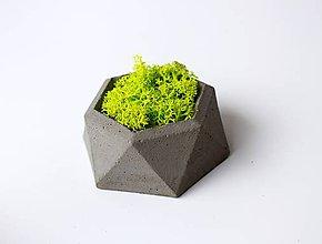 Dekorácie - Betónový mini kvetináč s islandským machom - 9389318_