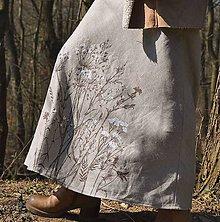 Sukne - Ľanová sukňa - ručne maľovaná - 9385974_