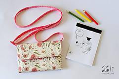 - Detská kabelka - pastelkovníčka Ružičky (vrátane vnútorného vybavenia) - 9389863_