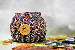 Košíky - Buřtíkatý dekorační košík MELANGE 16×13 cm - 9390015_
