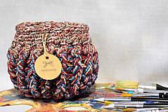 Košíky - Buřtíkatý dekorační košík MELANGE 16×13 cm - 9390036_