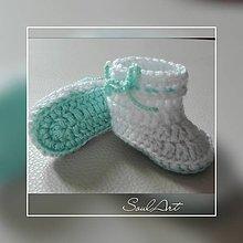Topánočky - Háčkované capačky, čižmičky s mentolovou podrážkou - 9387220_