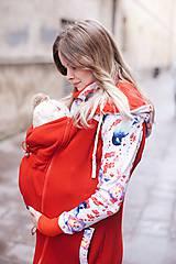 Mikiny - Nosičský kabátik červené vtáčiky - 9387353_