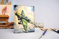 Peňaženky - Kožená peňaženka s motívom Lietadla, ručná maľba - 9389286_