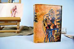 Tašky - Kožená peňaženka s motívom Cyklistu - Ručná maľba - 9389336_