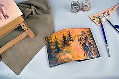 Tašky - Kožená peňaženka s motívom Cyklistu - Ručná maľba - 9389337_