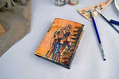 Tašky - Kožená peňaženka s motívom Cyklistu - Ručná maľba - 9389338_