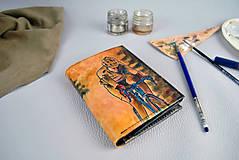 Tašky - Kožená peňaženka s motívom Cyklistu - Ručná maľba - 9389340_
