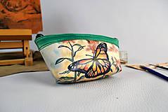 Taštičky - Kožené púzdro z pravej kože, ručne maľované - kozmetická taštička no.1 - 9389412_