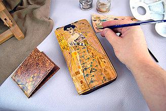 Peňaženky - Ručne maľovaná peňaženka inšpirovaná motívom Gustav Klimt - 9389162_