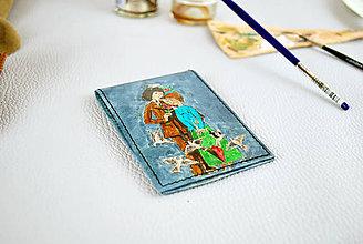 Peňaženky - Ručne maľovaný vizitkár s motívom Milenci - 9389185_