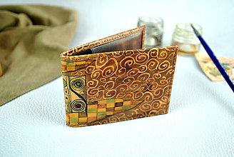 Peňaženky - Ručne maľovaný vizitkár s motívom Gustav Klimt - 9389194_