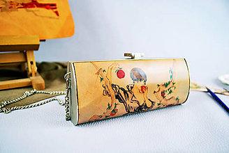 Kabelky - Ručne maľovaná spoločenská kabelka s motívom Dievča s jablkom - 9389223_