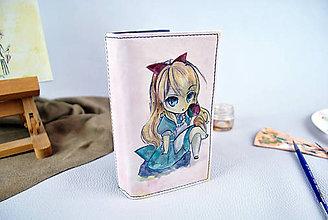 Peňaženky - Ručne maľovaná kožená peňaženka s motívom Dievčatko s jablkom - 9389227_