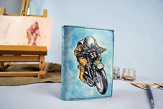 Tašky - Ručne maľovaná peňaženka s motívom Motocross, modrá - 9389266_