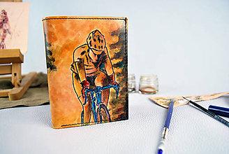 Tašky - Kožená peňaženka s motívom Cyklistu - Ručná maľba - 9389334_
