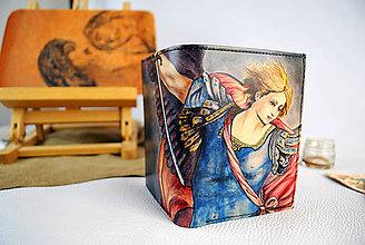 Peňaženky - Ručne maľovaná kožená peňaženka s motívom Guido Reni – Archangel - 9389386_