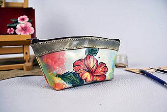 Taštičky - Ručne maľované púzdro z pravej kože, kozmetická taštička no.2 - 9389417_
