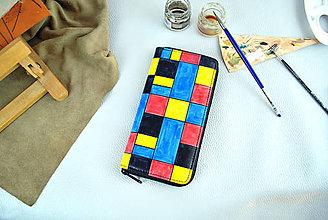 Peňaženky - Ručne maľovaná peňaženka inšpirovaná motívom Piet Mondrian - 9389464_