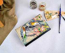 Peňaženky - Ručne maľovaná peňaženka s motívom Vtáci - 9389503_