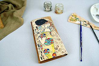 Peňaženky - Ručne maľovaná peňaženka inšpirovaná motívom Gustav Klimt - 9389518_