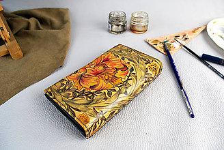 Peňaženky - Ručne maľovaná peňaženka s motívom Africkej ruže - 9389571_