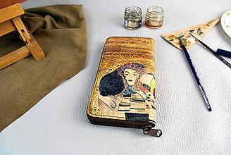 Peňaženky - Ručne maľovaná peňaženka inšpirovaná motívom Gustav Klimt - 9389591_